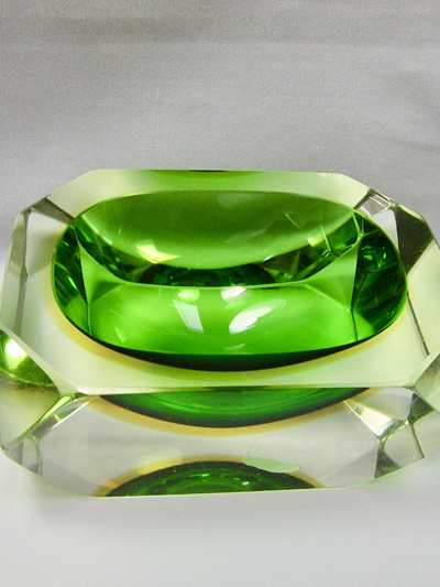 Vintage Murano Sommerso Faceted Green Dish in Green and Amber