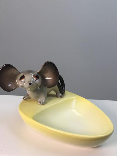 Vintage Norcrest Ceramic Nodder Mouse Pin Dish