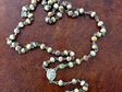 Vintage Paper Bead Rosary with Ave Maria and Crucifix
