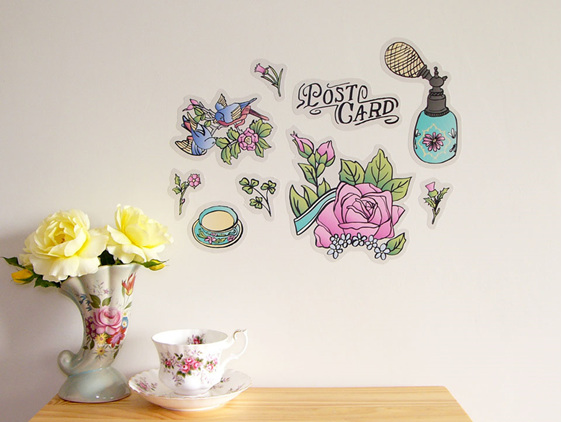 Vintage Postcard StickyTiny wall decal