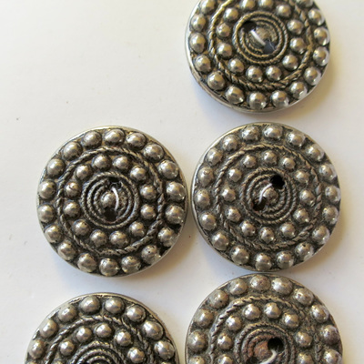 Silver textured buttons