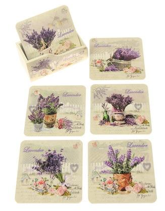 Vintage-Style Floral Coasters - Lavender