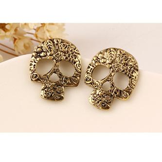 Vintage Tarnished Look Skull Earrings