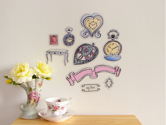 Vintage Timepieces reusable wall decal by Drawer Full of Giants