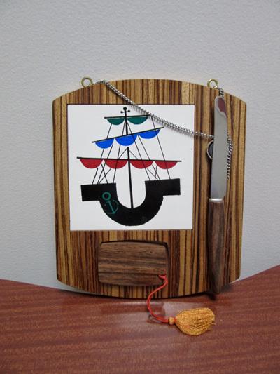 Vintage Wall Hanging Barware Cutting Board with Sailing Ship Motif