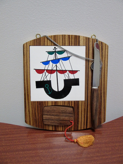 Vintage Wall Hanging Barware Cutting Board with Sailing Ship Motif