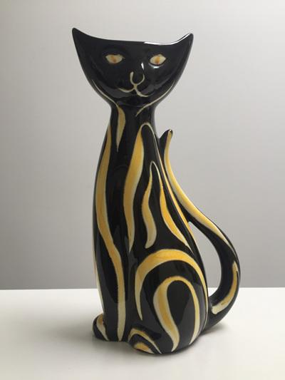 Vintage West German Pottery Cat Vase by Designer Anneliese Beckh