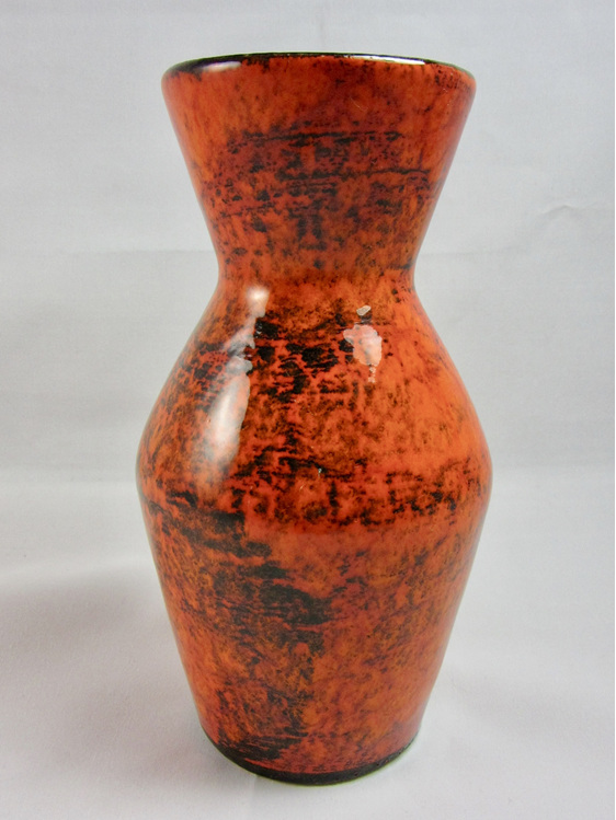 Vintage West German Pottery Vase In Orange And Black Vintage Colour