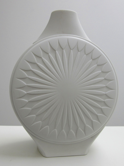 Vintage White Bisque Porcelain Vase with Mid-century Starburst Design Pattern