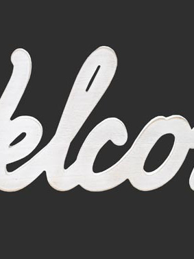 VINTAGE WORD WELCOME - WHITE