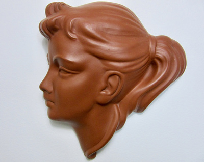 Vintage Wormser Terra-Sigillata Mask Wall Art of Young Woman