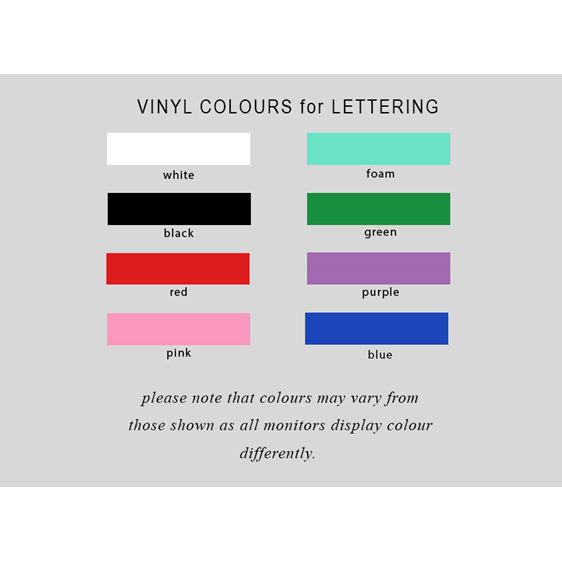Vinyl colours for lettering personalised Christmas Ball