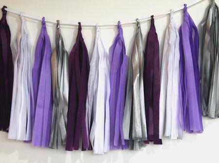 Violet tassel garland