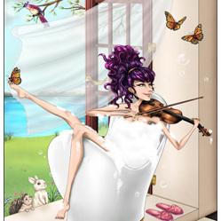 Violin Bath - A3 Print