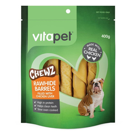 Vitapet Rawhide Barrels with Chicken Liver