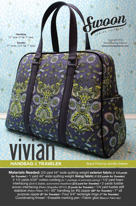 Vivian Handbag & Traveller by Swoon Sewing Patterns