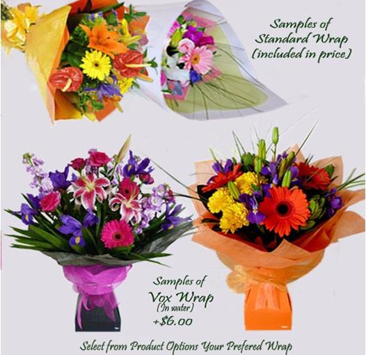 vox waterwrap or paper wrap at flowerise epsom florist