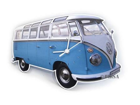VW T1 Bus Wall Clock Classis Blue