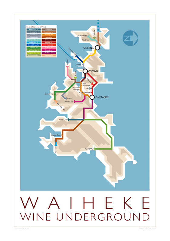 Waiheke Wine Underground Map from 2012