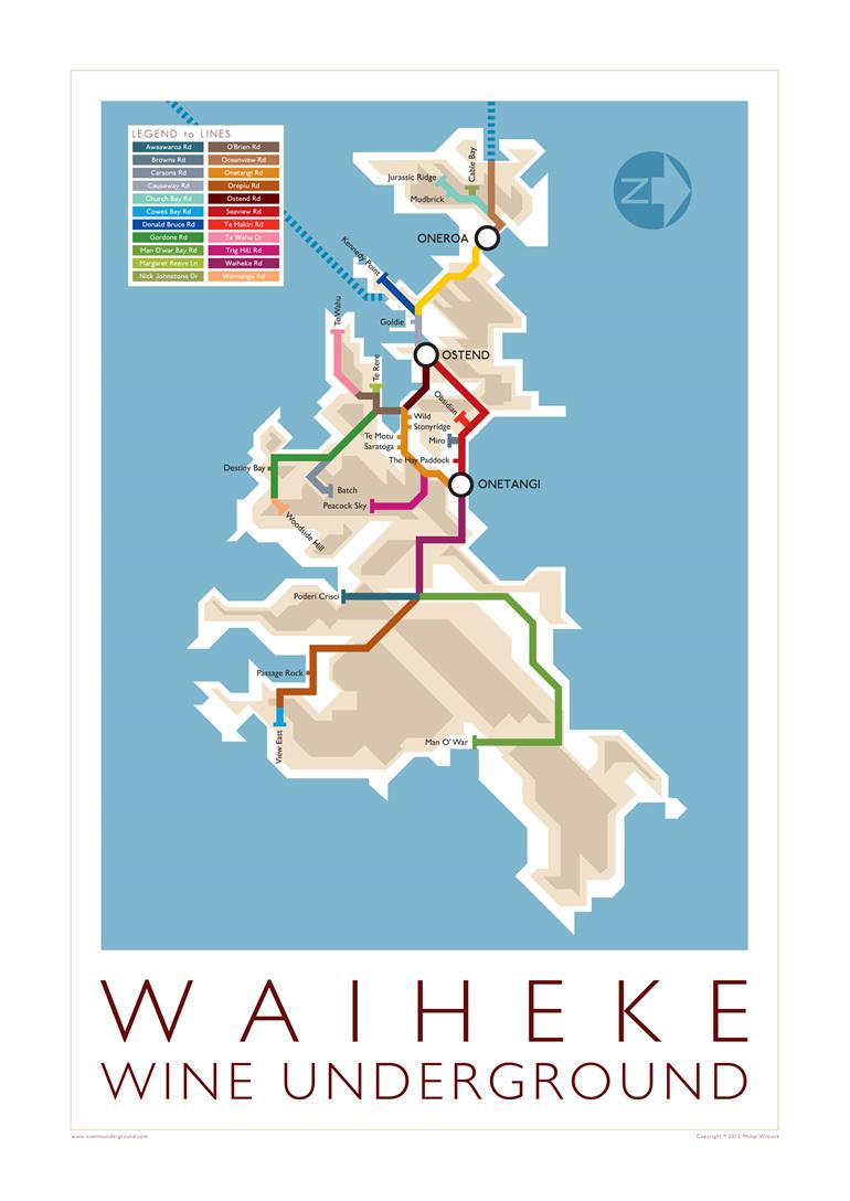 Waiheke Wine Underground Map from 2012