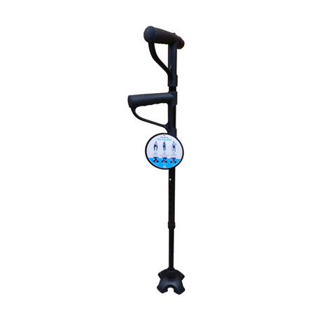 WALKING STICK ADJUSTABLE 2 HANDLE WITH TORCH 72-94CM