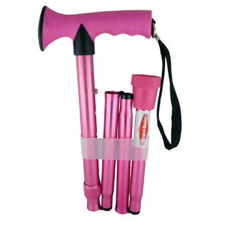 WALKING STICK FOLD ADJ PINK 73-85CM