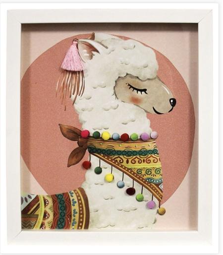 Wall Print Llama-Pink