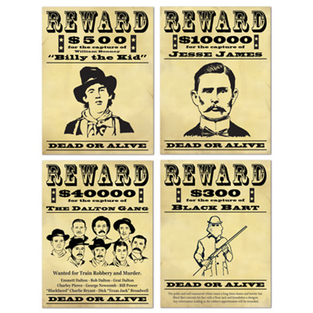 Wanted cardboard Western posters x4