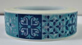 Washi Tape - Aqua-Blue Tile Pattern