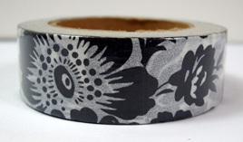 Washi Tape - Big Black & White Flowers