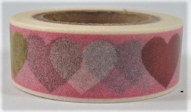 Washi Tape - Big Hearts on Pink Background