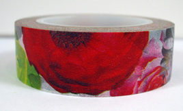 Washi Tape - Big Red , Green & Grey Flowers