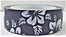 Washi Tape - Big White Flowers on Black Background