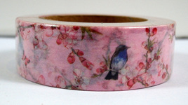 Washi Tape - Birds and Blossoms on Pink Background