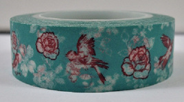Washi Tape - Birds and Flowers on Green Background