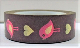 Washi Tape - Birds and Hearts on Brown Background