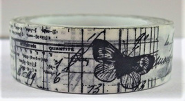 Washi Tape - Black Butterflies and Writing