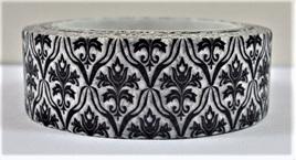 Washi Tape - Black Damask Pattern on White Background