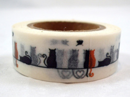 Washi Tape - Black & Red Cats