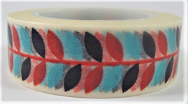 Washi Tape - Black, Red & Turquoise Leaves