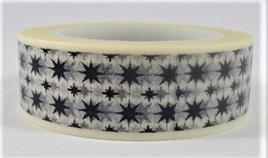 Washi Tape - Black Stars on White Background