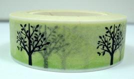 Washi Tape - Black Trees on Green Background