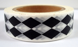 Washi Tape - Black & White Argyle Pattern