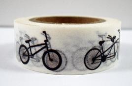 Washi Tape - Black & White Bicycles