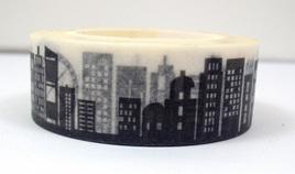 Washi Tape - Black & White City Skyline