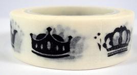 Washi Tape - Black & White Crowns