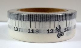 Washi Tape - Black & White Measuring Tape Pattern: Style A