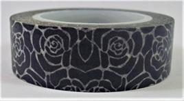 Washi Tape - Black & White Stylised Roses