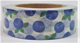 Washi Tape - Blue Berries on White Background