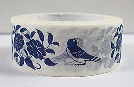 Washi Tape - Blue Birds on White Background